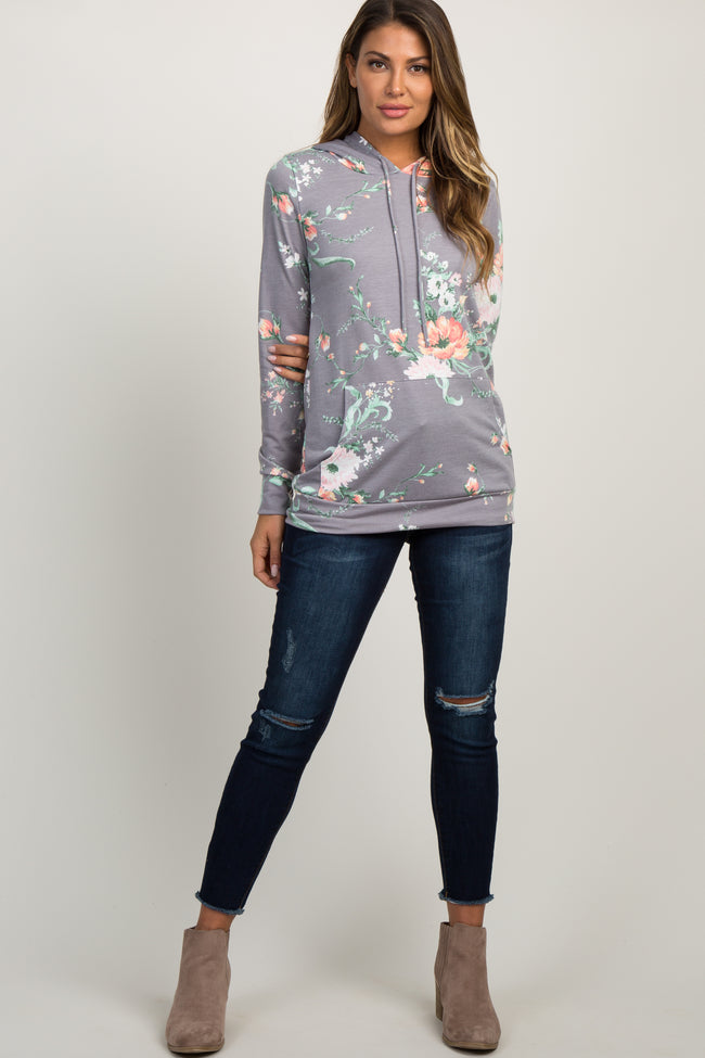 Grey Floral Hooded Top