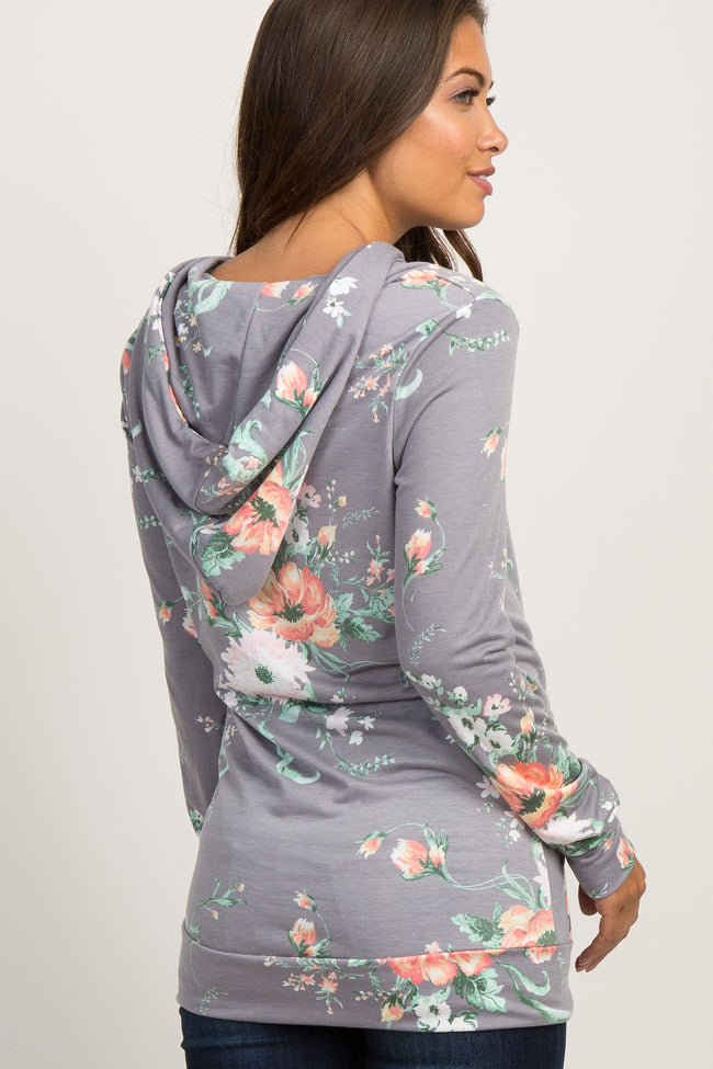 Grey Floral Hooded Maternity Top