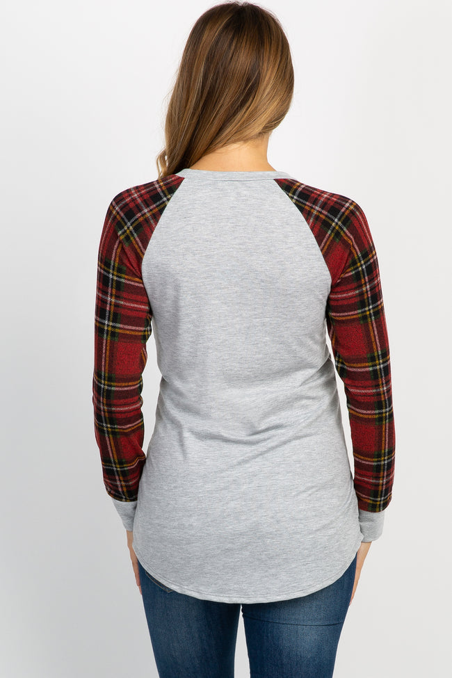 Heather Grey Red Plaid Sleeve Top