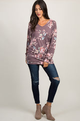 Burgundy Faded Rose Print Sweater