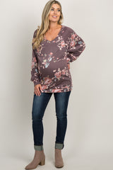 Burgundy Faded Rose Print Maternity Top