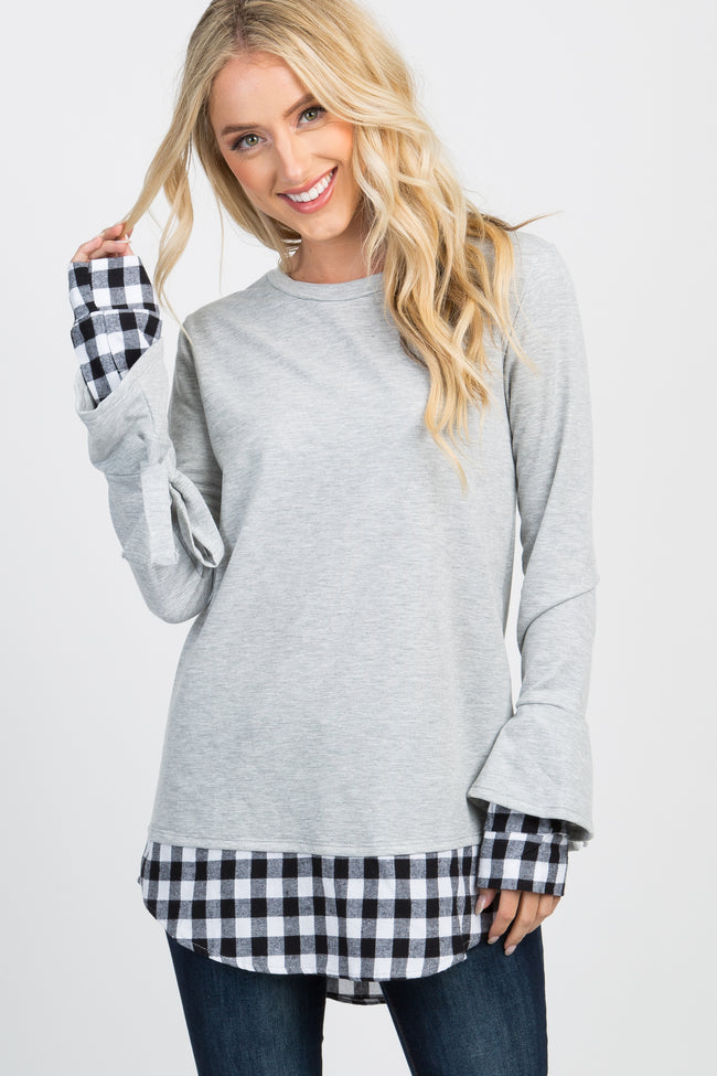 Heather Grey Plaid Sleeve Tie Maternity Sweater