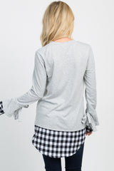 Heather Grey Plaid Sleeve Tie Sweater