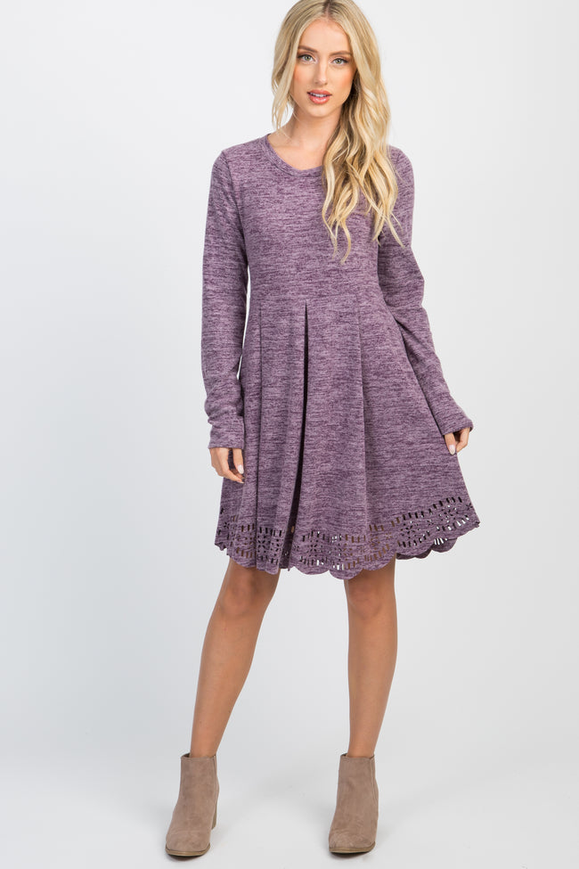Violet Scalloped Cutout Pleated Dress