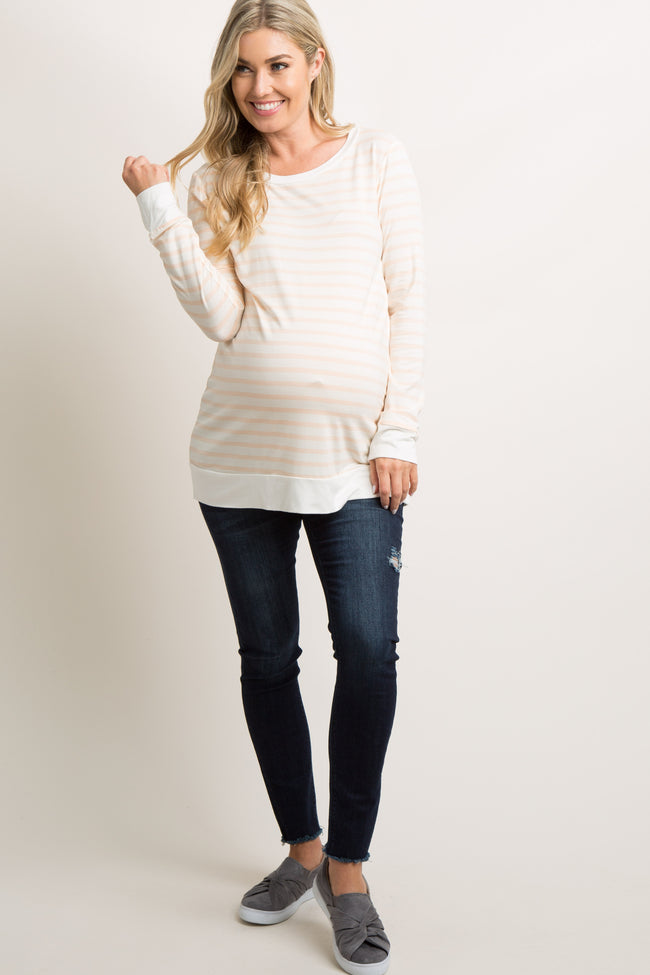 Peach Striped Long Sleeve Maternity Top