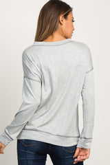 Heather Grey Cutout Front Long Sleeve Top