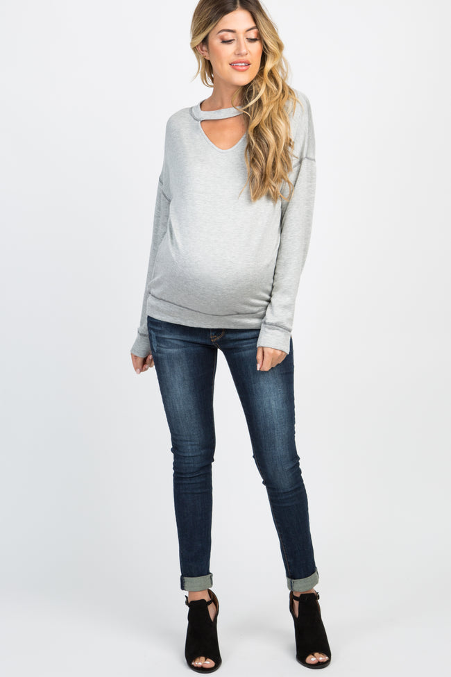Heather Grey Cutout Front Long Sleeve Maternity Top