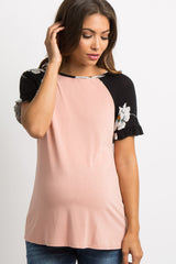 Black Floral Accent Colorblock Ruffle Maternity Top