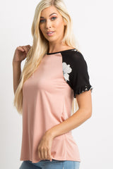 Black Floral Accent Colorblock Ruffle Top