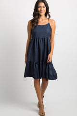 Navy Lace-Up Tie Back Tiered Maternity Dress