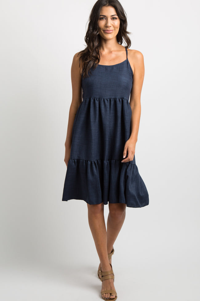 Navy Blue Tiered Lace-Up Tie Back Dress