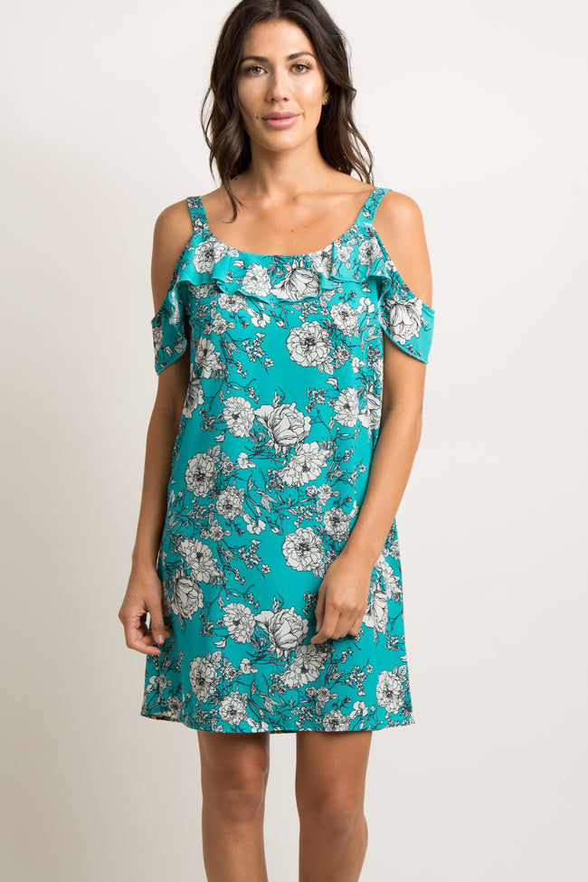 Teal Floral Open Shoulder Maternity Shift Dress