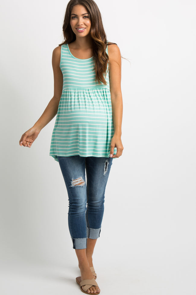 Mint Green Striped Crisscross Back Peplum Tank Top