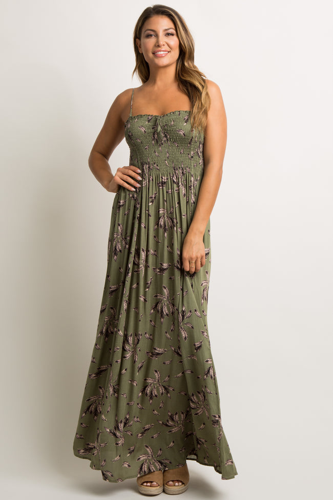 Olive Printed Smocked Cami Strap Maternity Maxi Dress