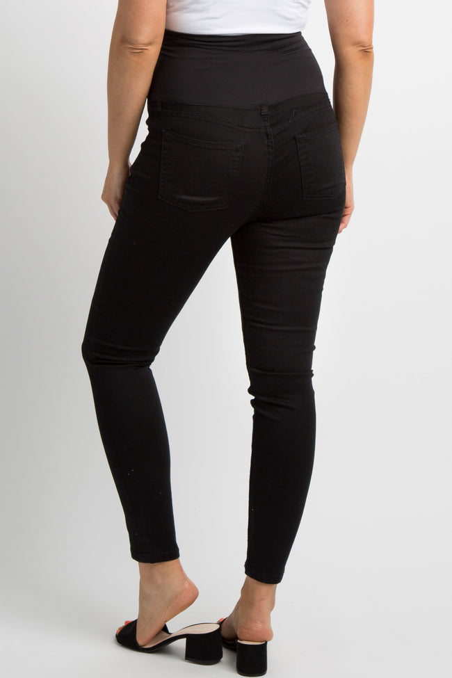 Black Basic Solid Maternity Skinny Jeans