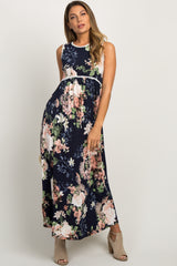 Navy Floral Sleeveless Crochet Trim Maxi Dress