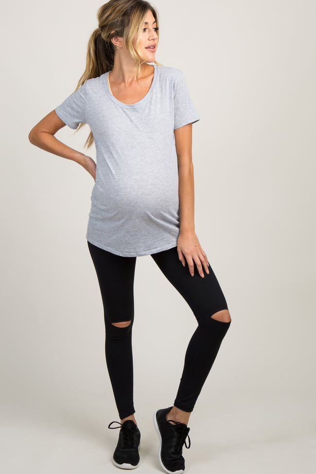 Black Knee Slit Maternity Active Leggings