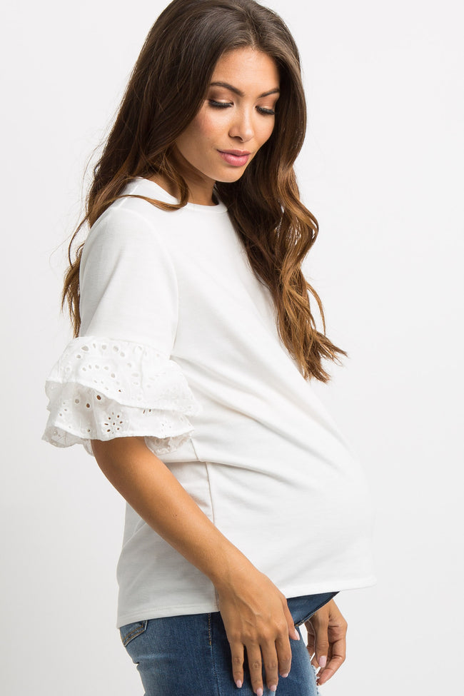 White Embroidered Layered Ruffle Sleeve Maternity Top