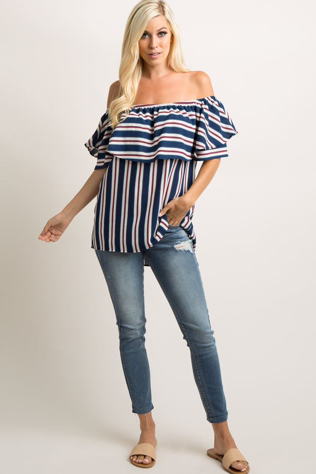 Navy Striped Ruffle Off Shoulder Top