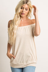 Taupe Solid Off Shoulder Maternity Top