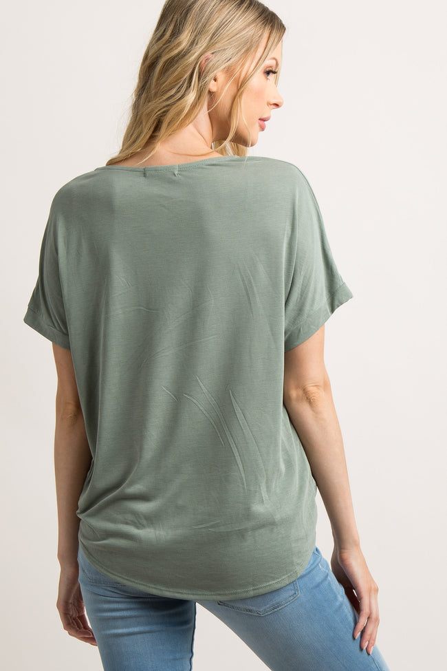 Light Olive Short Sleeve Draped Top