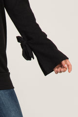 Black Solid Sleeve Tie Sweater