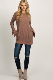 Mocha Solid Sleeve Tie Sweater