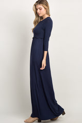 Navy Blue Ruffle Trim Pleated Maxi Dress