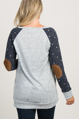Navy Colorblock Polka Dot Knit Maternity Sweater