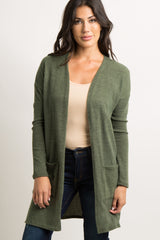 Olive Green Quilted Elbow Long Sleeve Cardigan