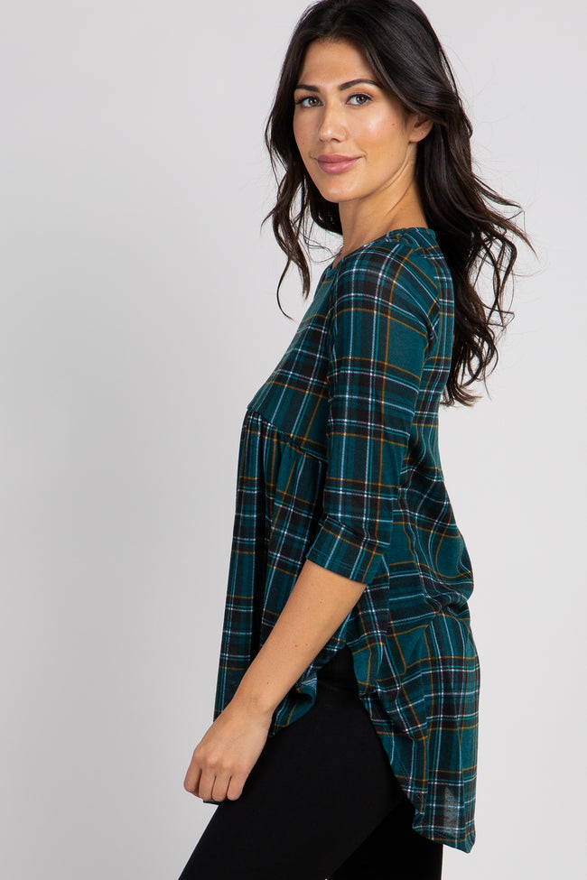 Green Plaid Print Peplum Top