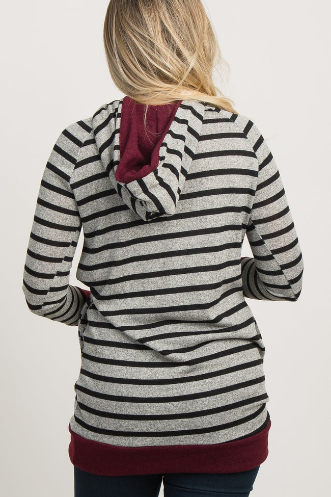 Burgundy Striped Hooded Zipper Accent Maternity Top