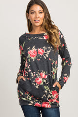 Black Rose Floral Boat Neck Sweatshirt
