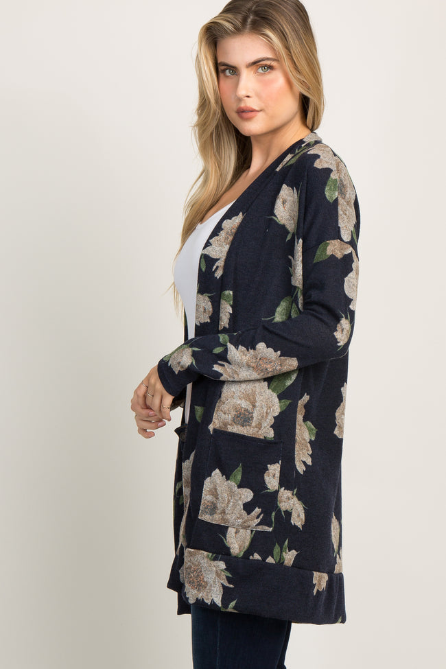 Navy Blue Floral Knit Cardigan