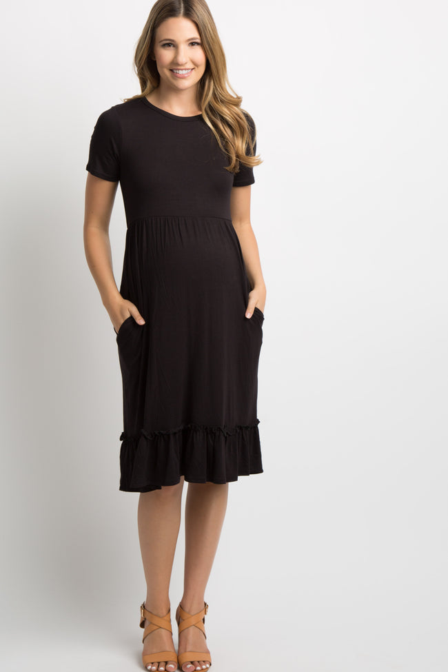 Black Solid Ruffle Hem Maternity Dress