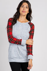 Heather Grey Plaid Sleeves Maternity Top