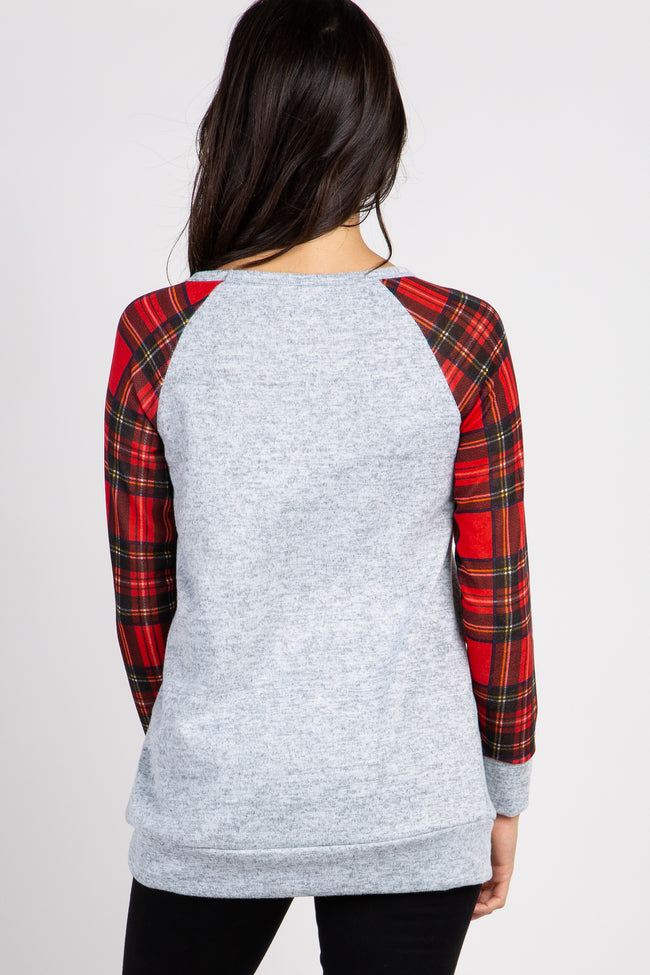 Heather Grey Plaid Sleeves Top
