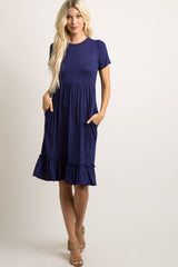 Navy Solid Ruffle Hem Dress
