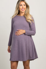 Purple Basic Knit Swing Dress