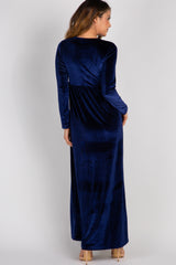Navy Blue Basic Velvet Maxi Dress