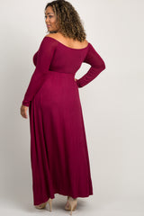 PinkBlush Burgundy Solid Off Shoulder Plus Maternity Maxi Dress