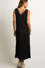 Black Sleeveless Button Front Maxi Dress