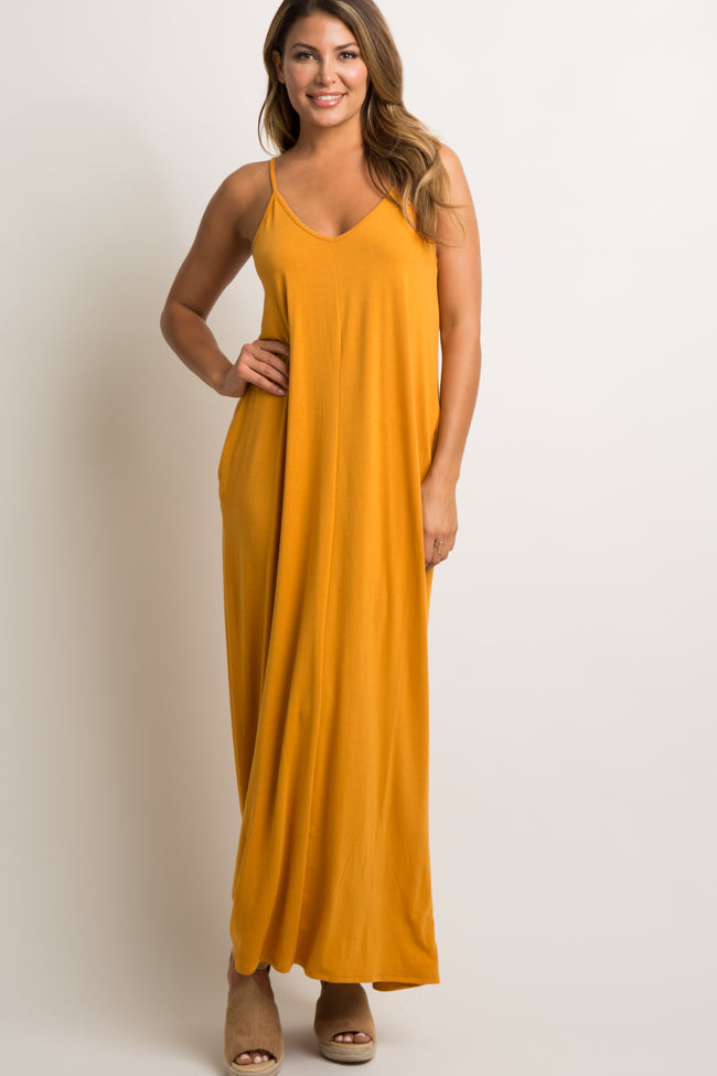 Yellow Solid Cami Maxi Dress