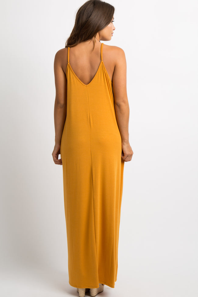 Yellow Solid Cami Maternity Maxi Dress
