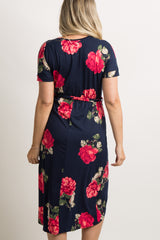 Navy Rose Floral Wrap Hem Maternity Dress