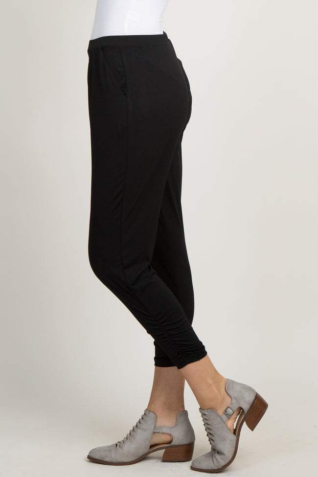 Black Solid Ruched Jogger Pants