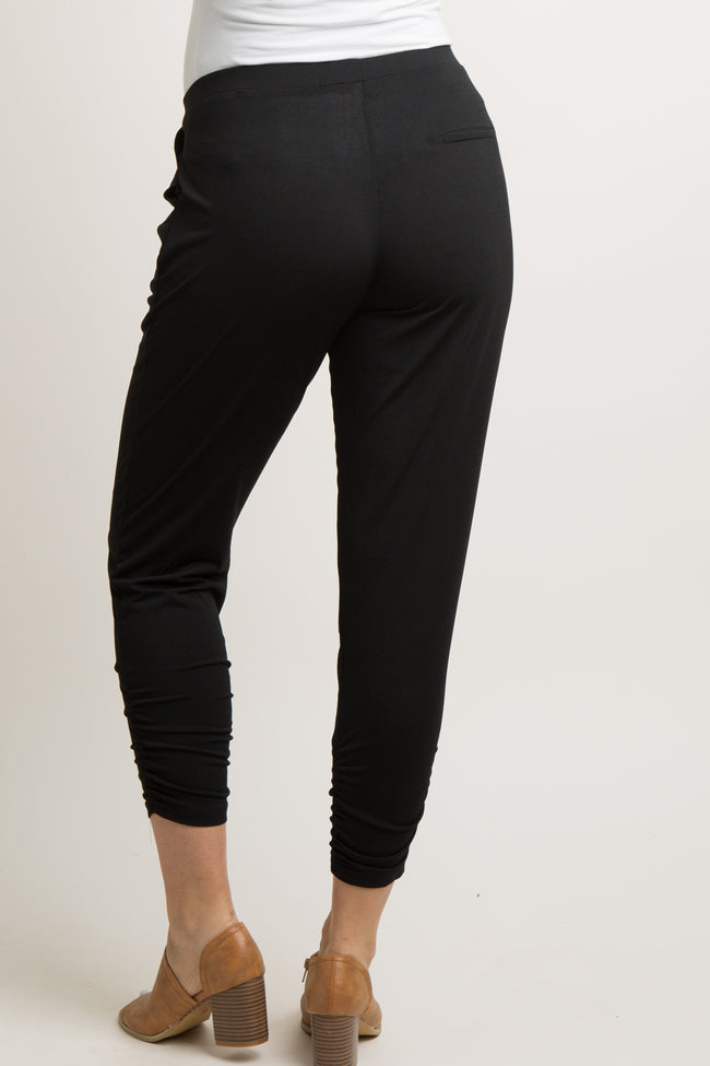 Black Solid Ruched Maternity Jogger Pants