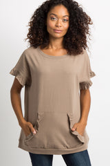 Mocha Faded Ruffle Trim Pocket Front Top