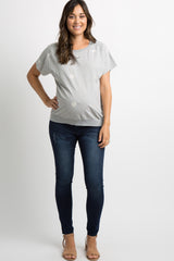 Heather Grey Embroidered Heart Dolman Sleeve Maternity Top
