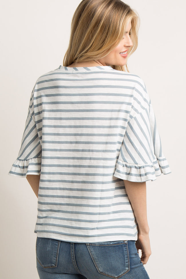 Blue Striped Butterfly Ruffle Sleeve Top